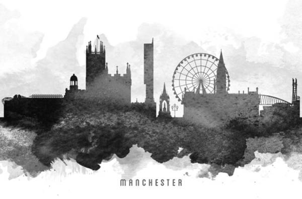 Manchester City Wall Art - Painting - Manchester Cityscape 11 by Aged Pixel