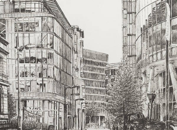 Manchester City Wall Art - Drawing - Manchester  Deansgate by Vincent Alexander Booth