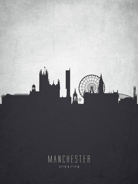 Manchester City Wall Art - Painting - Manchester England Cityscape 19 by Aged Pixel