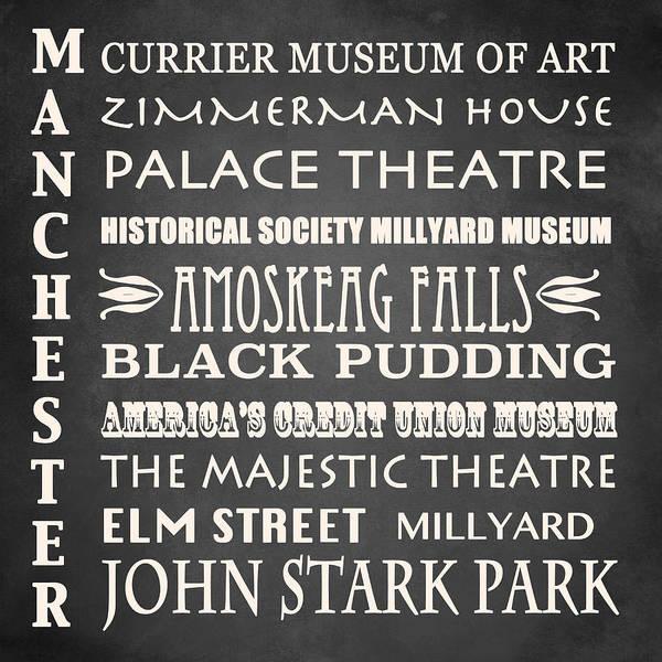 Manchester Digital Art - Manchester Famous Landmarks by Patricia Lintner