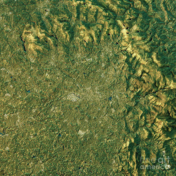 Greater Manchester Wall Art - Digital Art - Manchester Topographic Map Natural Color Top View by Frank Ramspott