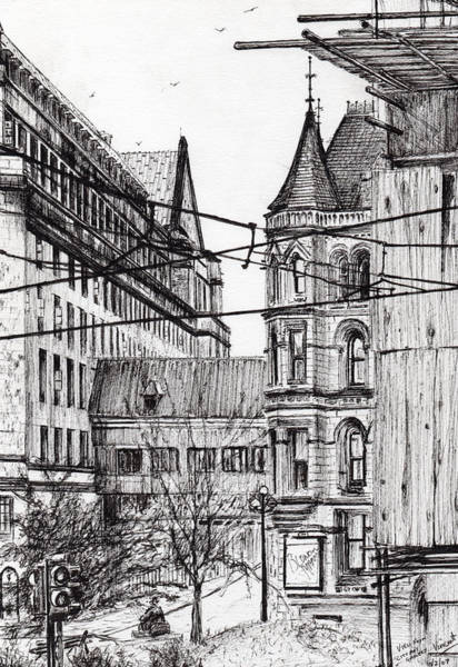 Manchester City Wall Art - Drawing - Manchester Town Hall From City Art Gallery by Vincent Alexander Booth