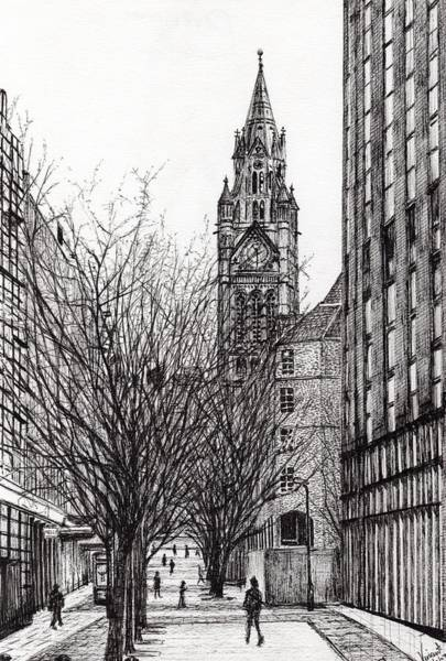 Greater Manchester Wall Art - Drawing - Manchester Town Hall From Deansgate by Vincent Alexander Booth
