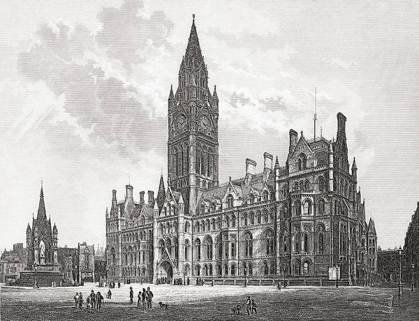 Manchester Drawing - Manchester Town Hall, Manchester by Vintage Design Pics