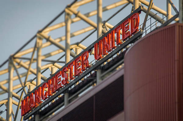 Greater Manchester Wall Art - Photograph - Manchester United Sign, Old Trafford Football Ground, Manchester, Uk by Neil Alexander