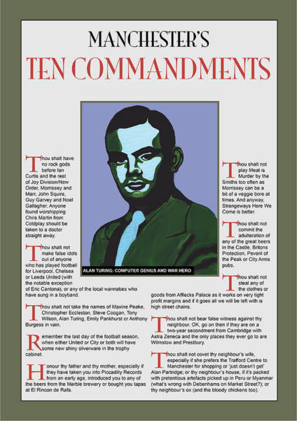 Alan Turing Wall Art - Painting - Manchester's Ten Commandments by Eric Jackson