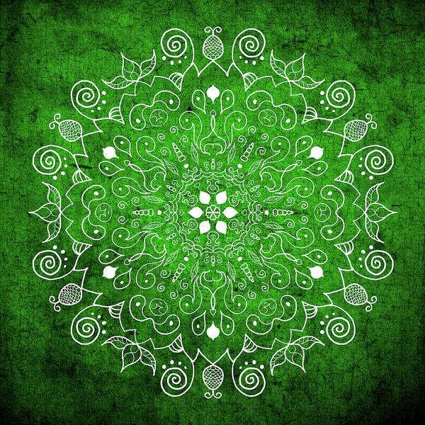 Shower Curtain Digital Art - Mandala 1 Green by Patricia Lintner