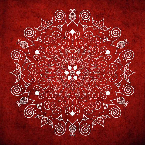 Shower Curtain Digital Art - Mandala 1 Red by Patricia Lintner