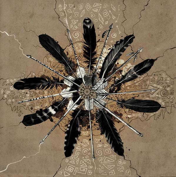 Feather Digital Art - Mandala Arrow Feathers by Bekim Art