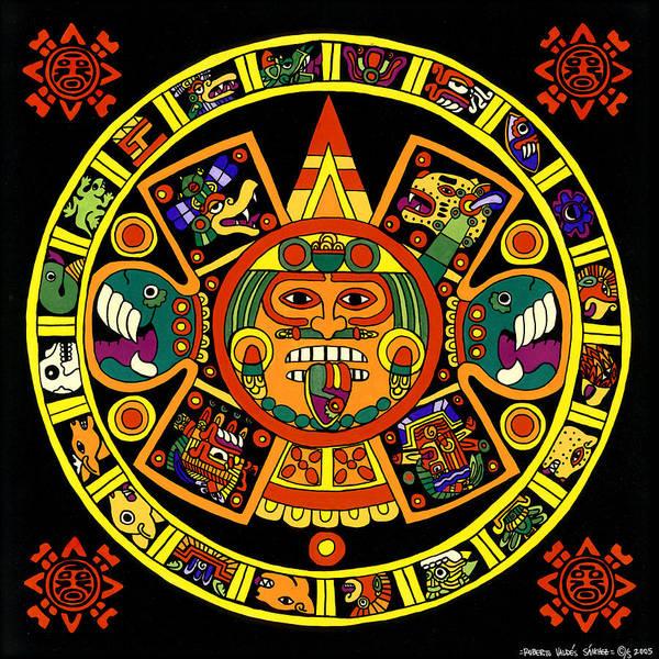 Native American Culture Painting - Mandala Azteca by Roberto Valdes Sanchez