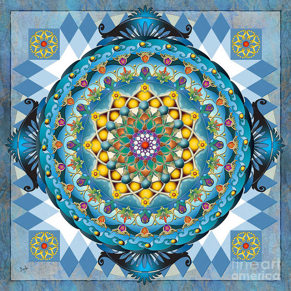 Wall Art - Digital Art - Mandala Blue Crown by Peter Awax