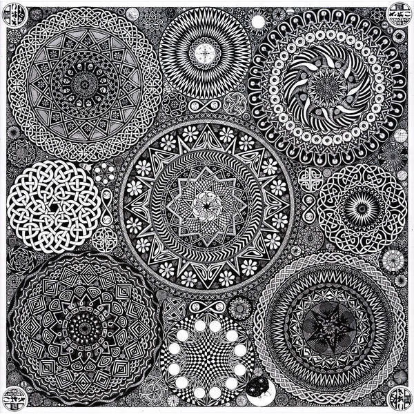 Skulls Wall Art - Drawing - Mandala Bouquet by Matthew Ridgway