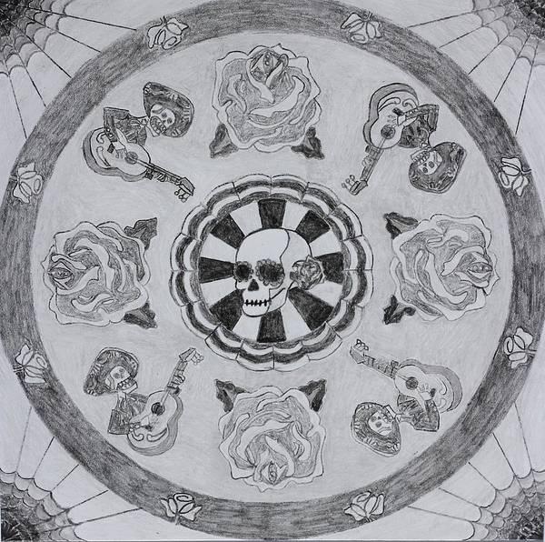 Mariachi Drawing - Mandala Calavera by Margaret  Marzullo