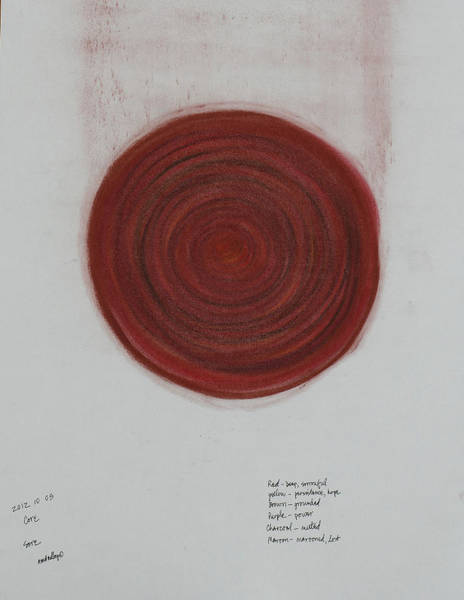 Pastel - Mandala Core Red by Annette Hadley