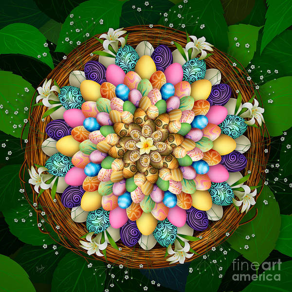 Easter Lily Mixed Media - Mandala Easter Eggs by Peter Awax