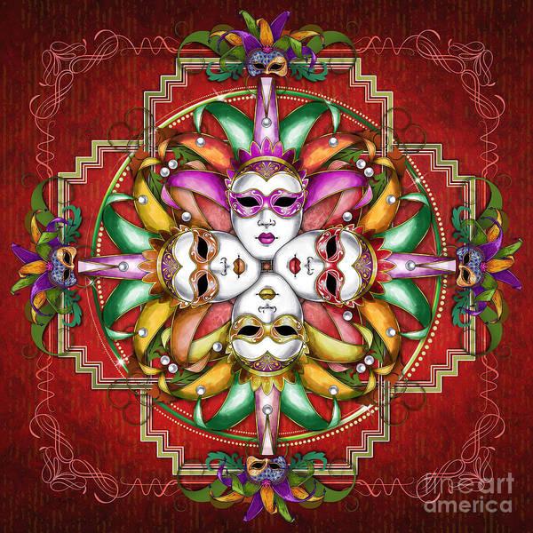 Baroque Mixed Media - Mandala Festival Masks V2 by Peter Awax