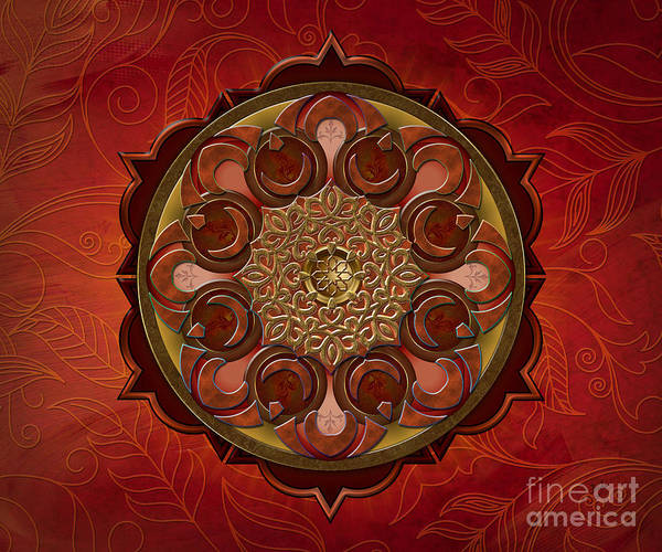 Scarlet Digital Art - Mandala Flames Sp by Peter Awax