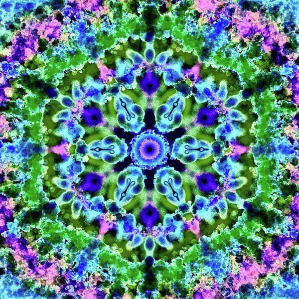 Digital Art - Mandala Floral Blue Green by Patricia Lintner