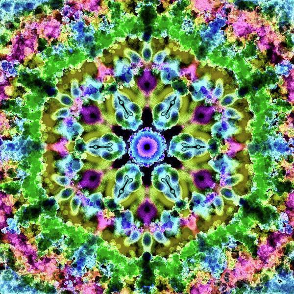 Digital Art - Mandala Floral Green by Patricia Lintner