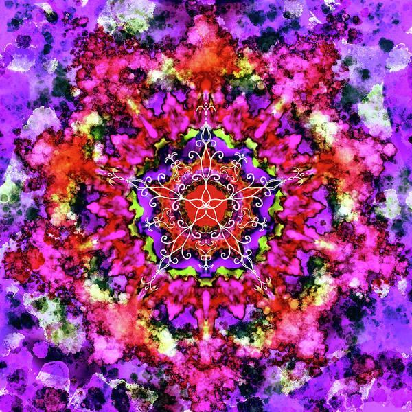 Wall Art - Digital Art - Mandala Floral Red Purple by Patricia Lintner