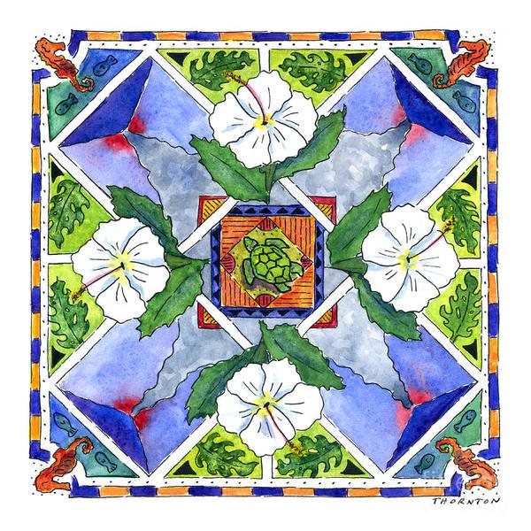 Mandala IIi - White Hibiscus Art Print