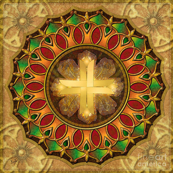 Art Paper Mixed Media - Mandala Illuminated Cross by Peter Awax