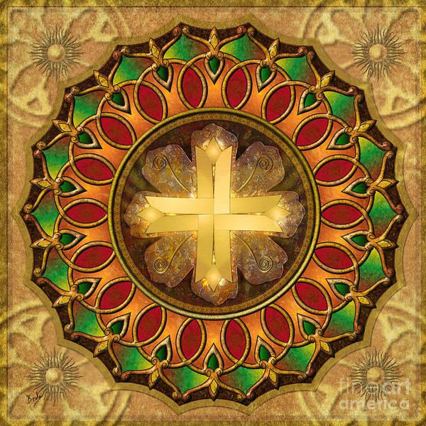Arch Mixed Media - Mandala Illuminated Cross by Peter Awax