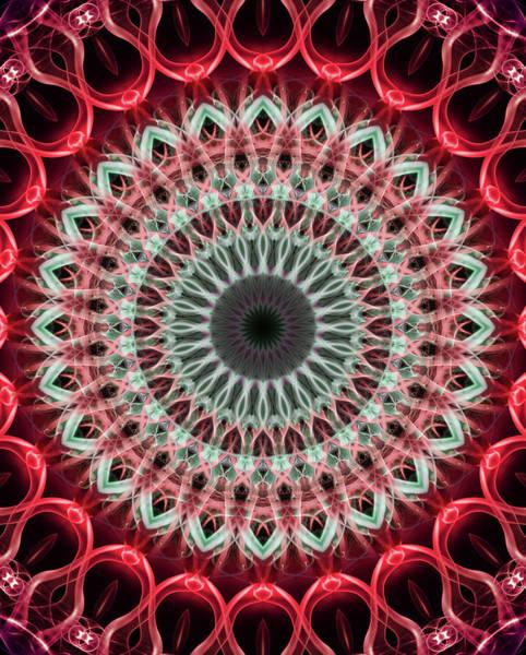 Photograph - Mandala In Green And Red Tones by Jaroslaw Blaminsky