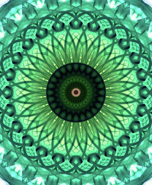 Photograph - Mandala In Light And Dark Green Tones by Jaroslaw Blaminsky