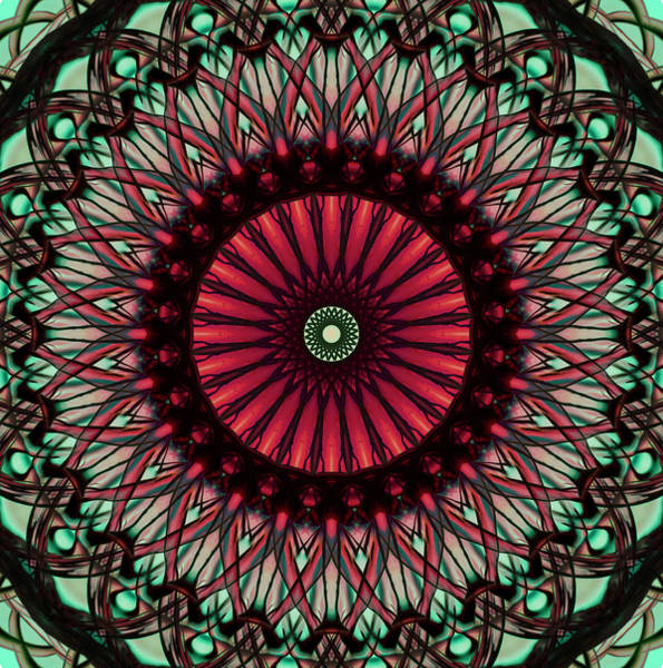 Photograph - Mandala In Red And Green Colors by Jaroslaw Blaminsky