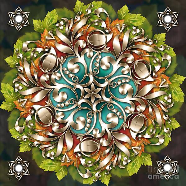 Baroque Mixed Media - Mandala Metallic Ornament by Peter Awax