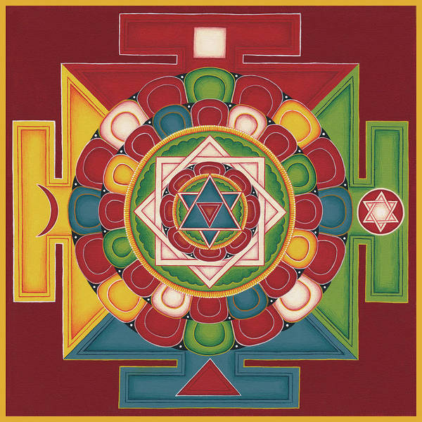 Tibetan Painting - Mandala Of The 5 Elements Earth-water-fire-air-space by Carmen Mensink