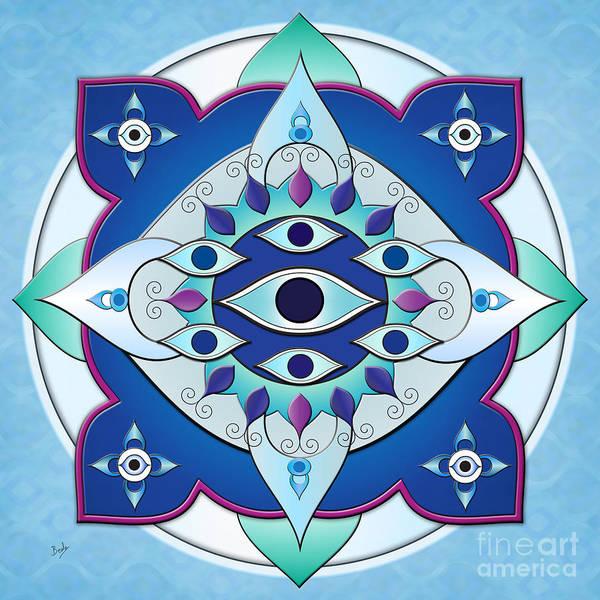 Turkish Mixed Media - Mandala Of The Seven Eyes by Peter Awax