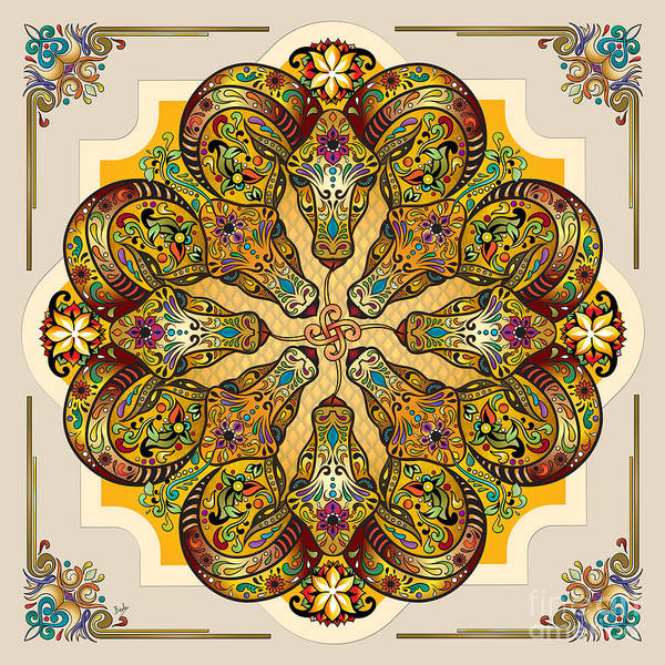 Wall Art - Digital Art - Mandala Sacred Rams - Bright Version by Peter Awax