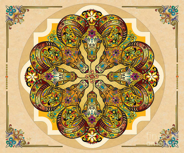 Wall Art - Digital Art - Mandala Sacred Rams - Bright Version Sp by Peter Awax