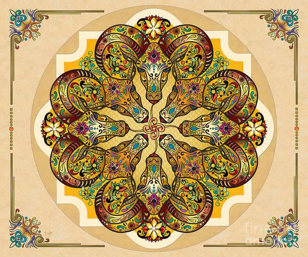 Archeology Digital Art - Mandala Sacred Rams - Bright Version Sp by Peter Awax
