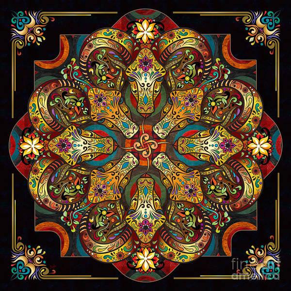Sacred Mixed Media - Mandala Sacred Rams - Dark Version by Peter Awax