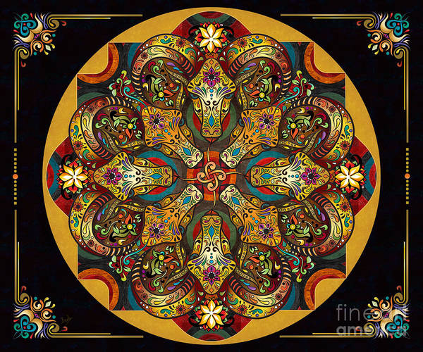 Archeology Digital Art - Mandala Sacred Rams - Dark Version Sp by Peter Awax