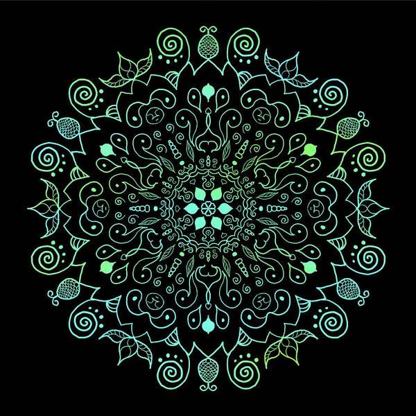 Digital Art - Mandala Teal And Black by Patricia Lintner