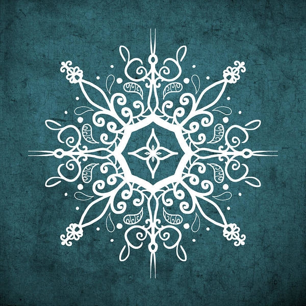 Digital Art - Mandala Teal And White by Patricia Lintner
