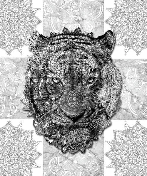 Big Cat Digital Art - Mandala Tiger 2 by Bekim Art