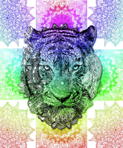 Big Cat Digital Art - Mandala Tiger 3 by Bekim Art
