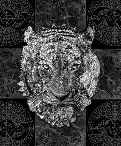 Big Cat Digital Art - Mandala Tiger by Bekim Art