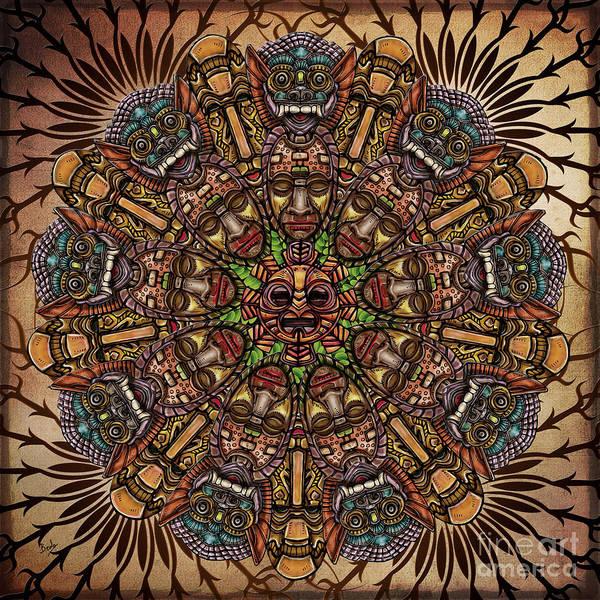 Wall Art - Digital Art - Mandala Tribal Masks by Peter Awax