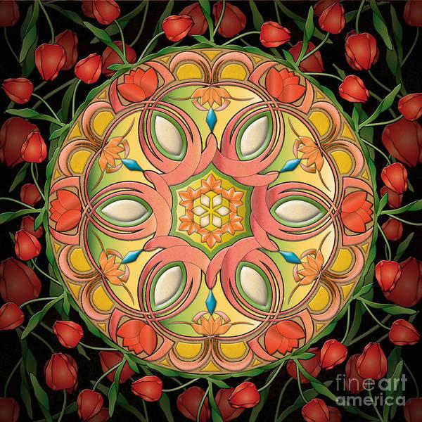 Arch Mixed Media - Mandala Tulipa by Peter Awax