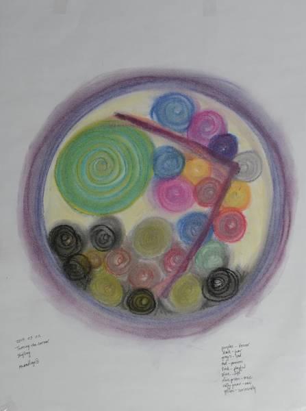 Pastel - Mandala Turning The Corner by Annette Hadley