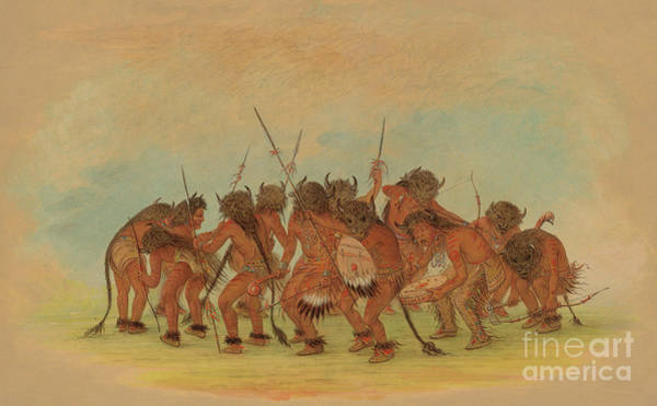 Wall Art - Painting - Mandan Buffalo Dance Or Bison Dance by George Catlin