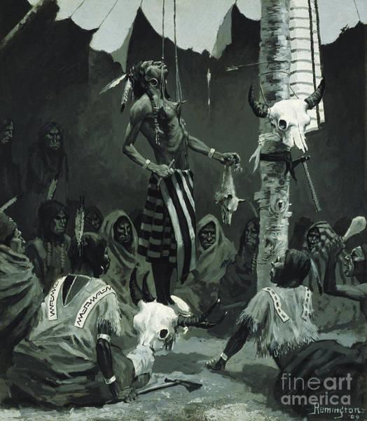 Totem Pole Wall Art - Painting - Mandan Initiation Ceremony The Sundance by Frederic Remington