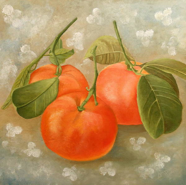 Mandarin Wall Art - Painting - Mandarins by Angeles M Pomata