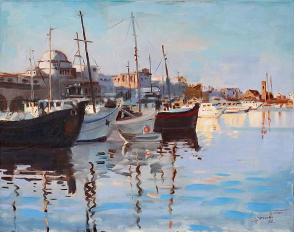 Greece Painting - Mandraqi Rhodes Greece by Ylli Haruni